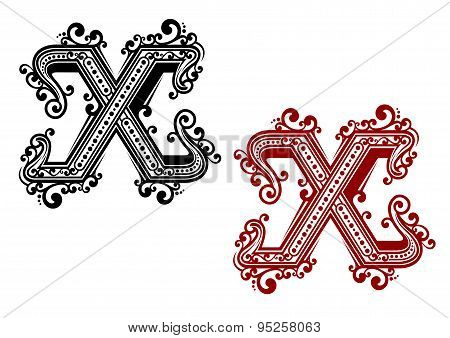 Vintage letter X with ornament