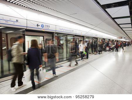 Busy subway station in Hong Kong