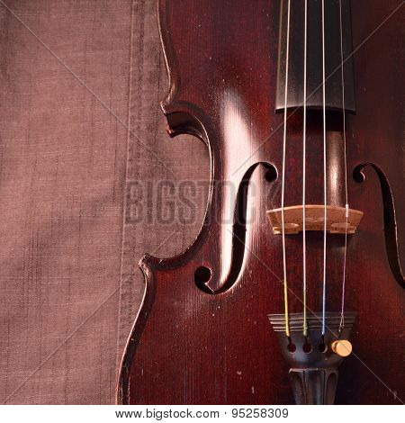 Antique Violin Against Gray Fabric Background, Square