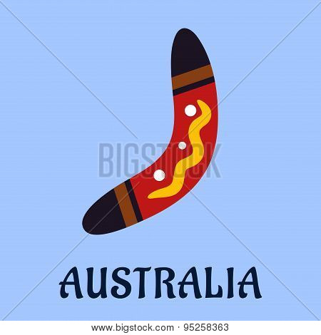 Australian national isolated colorful boomerang