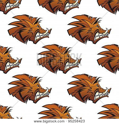 Seamless pattern of wild boars with tusks