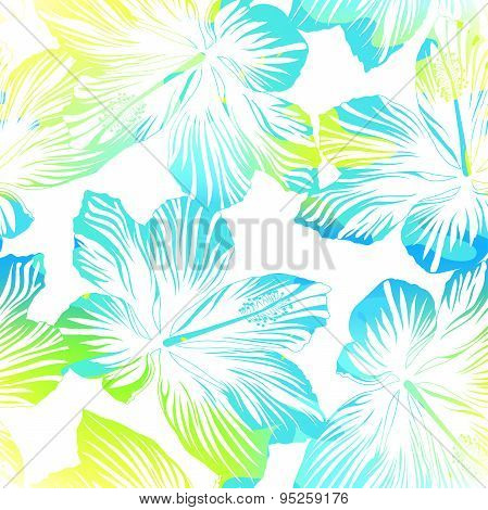 Tropical Flowers White Seamless Pattern With Watercolour Effect
