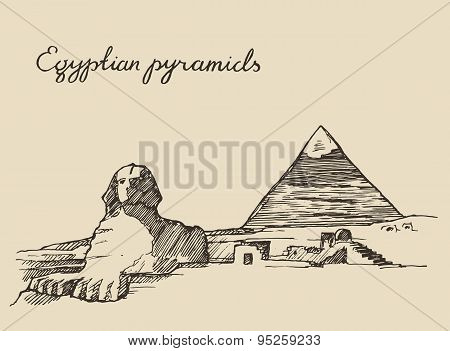 Pyramids Great Sphinx, Giza in Cairo Egypt sketch