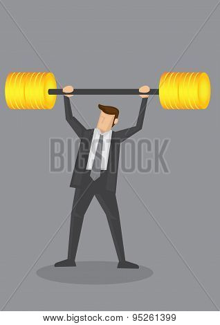 Businessman Weight Lifting With Golden Barbell Conceptual Vector Illustration