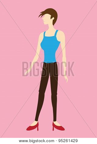 Funky Short Hair Woman Side View Vector Illustration