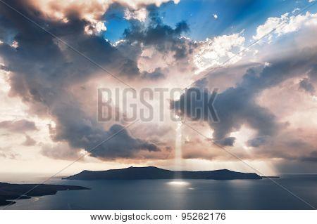 Beautiful Sunset On Santorini Island, Greece.