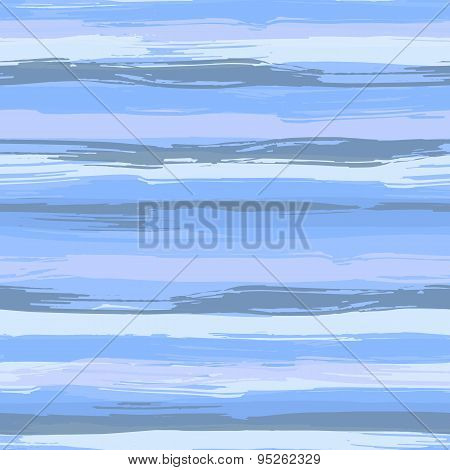 Vector seamless pattern with blue brush strokes. Striped sea background in shades of aqua blue.