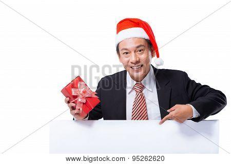 Businessman In A Santa Claus Hat