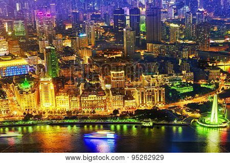 Beautiful View Of  Shanghai -  Bund Or Waitan Waterfront At Night.