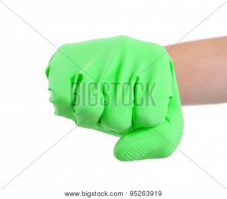 Hand In A Rubber Glove Gesturing Fist