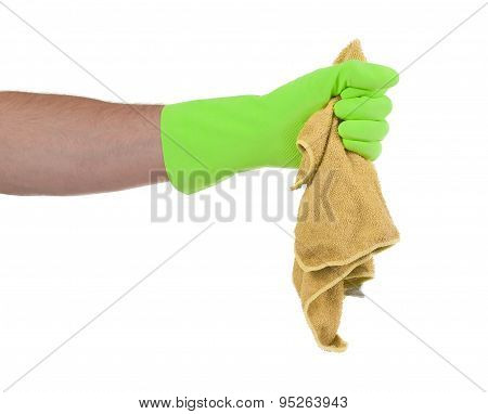 Hand Wearing Rubber Glove And Hold Rag(mop)