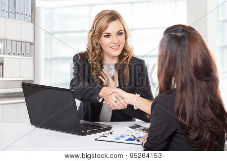 Businesswoman Shaking Hand After A Long Negotiation