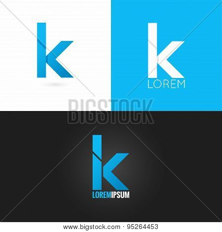 letter K logo design icon set background