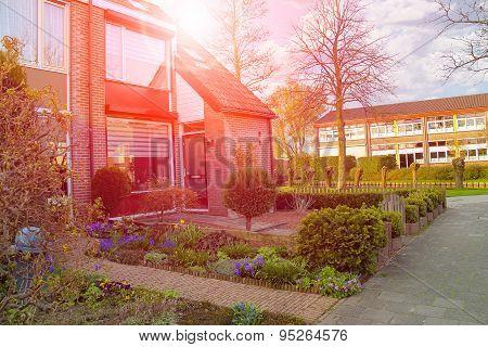 Picturesque House On A City Street In Meerkerk, Netherlands