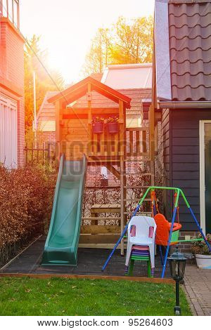 Playground In Front Of A Dutch House