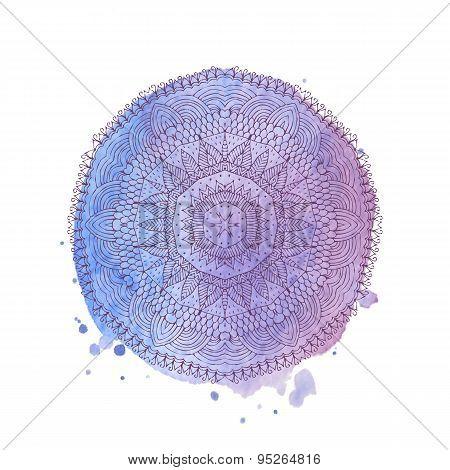 Watercolor Mandala. Vector Isolated Element