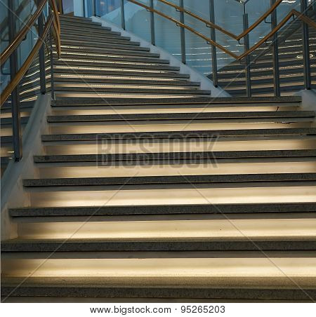 Curved Staircase With Lighting