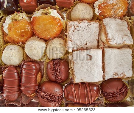 variety of pastries sweet background