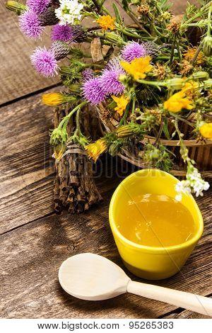 Fresh, Raw Honey And Wild Flowers