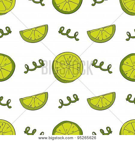 Hand Drawn Lime Vector Seamless Pattern