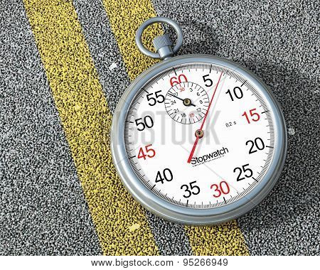 Steel Stopwatch On The Road. Fast Concept.