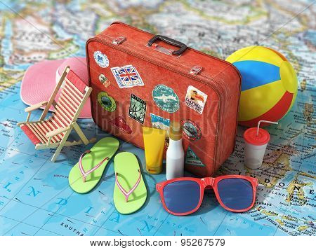 Travel Concept. Summer Hat, Shoes, Ball, Sun Cream, Sunglass And Vintage Suitcase On The Blurred Wor