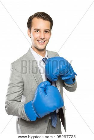 Businessman Wearing A Boxing Gloves