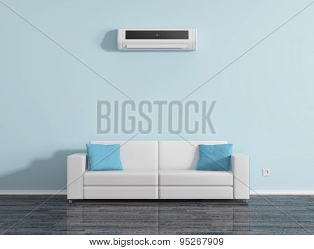 Air Conditioning On The Wall Above The Sofa Cushions.