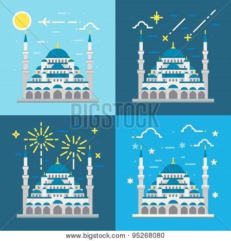 Flat Design Of Blue Mosque Istanbul Turkey