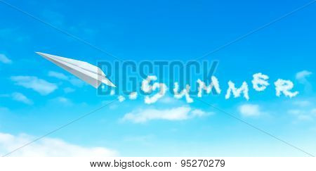 Paper Plane Producing Cloud Shape That Resemble Summer Word