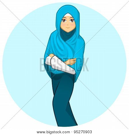 Modern Muslim Woman with Folded Arms Wearing Blue Veil