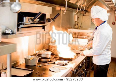 Chef With High Burning Flames