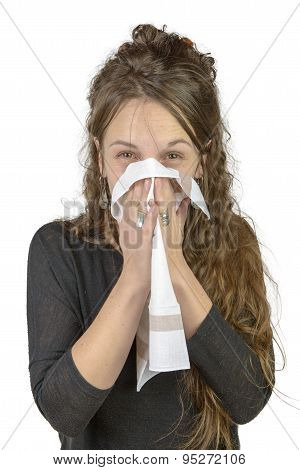A Young Woman With A Cold