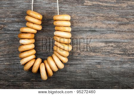 Bagels On Wooden Background