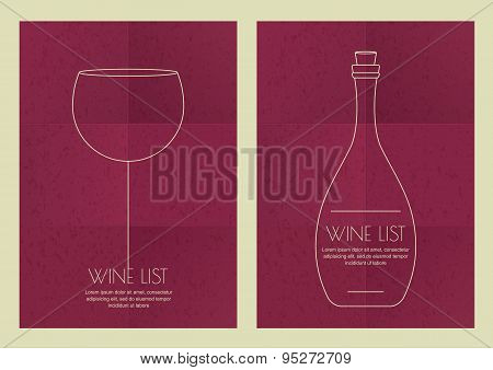 Set Of Abstract Line Illustration, Wine Glass And Bottle On Grunge Paper Background.