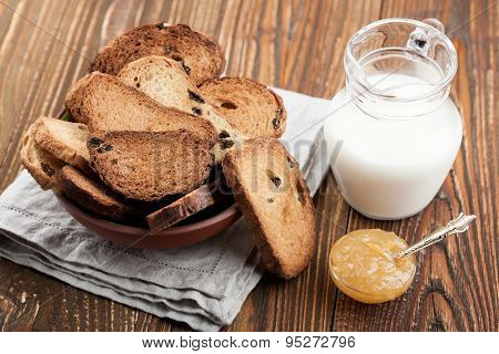 Bowl With Rusks And Milk Jug