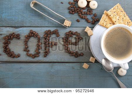 Espresso On Old Wooden Boards..
