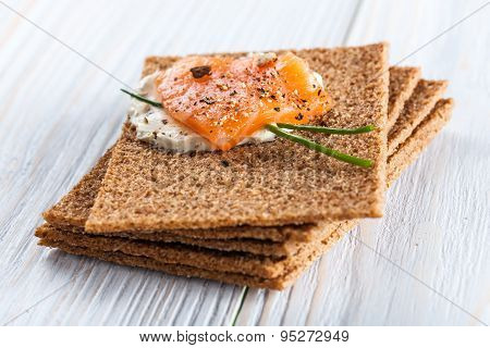 Canape With Smoked Salmon And Crackers