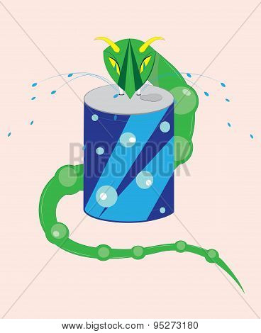Snake and aerated water.