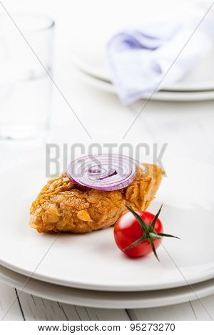Chicken Cutlet Baked In Cornflakes