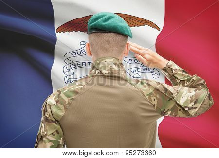 Soldier Saluting To Usa State Flag Conceptual Series - Iowa