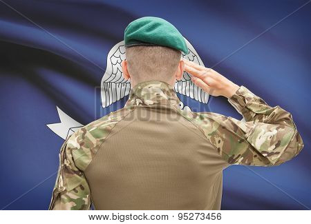 Soldier Saluting To Usa State Flag Conceptual Series - Louisiana