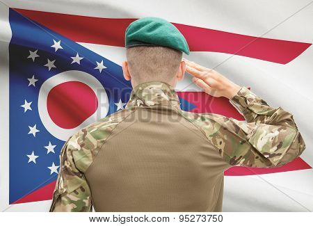 Soldier Saluting To Usa State Flag Conceptual Series - Ohio