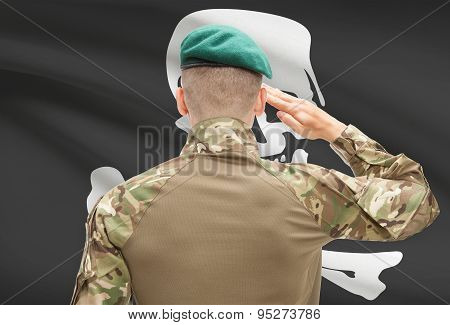 Soldier Saluting To Usa State Flag Conceptual Series - Jolly Roger