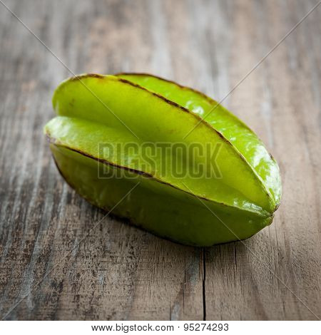 Fresh Carambola On A Wooden Table