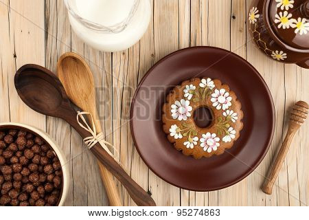 Gingerbread, Milk, Cornflakes, Honey Pot
