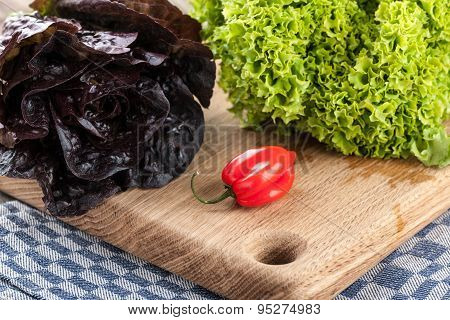 Green, Red, Fresh Lettuce And Red Pepper