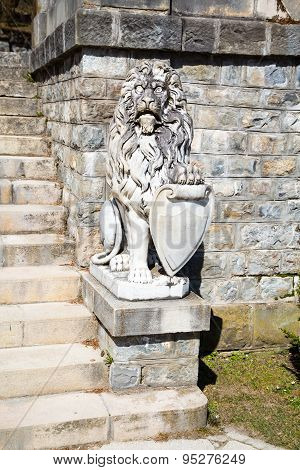 Lion Statue In The Garden Of Peles Castle, Romania