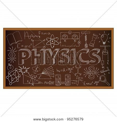 School board doodle with physics symbols. Vector illustration
