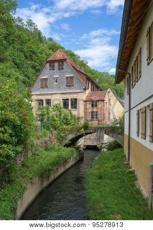 Old houses on a village stream